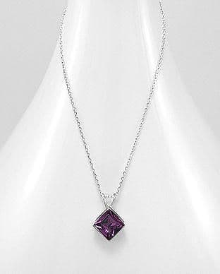 925 Sterling Silver Pendant & Chain Decorated with  Amethyst  Authentic Swarovski Crystal Stone